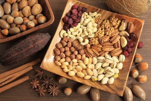 A plate with a variety of nuts