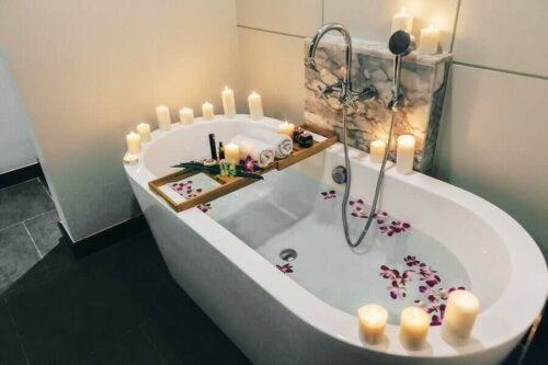 A bath with candles.