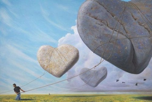 Pulling strings of kites of giant stone hearts make decisions don't be stagnant