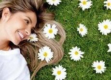 woman in daisy field