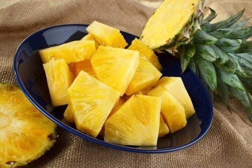 Pineapple chunks in a bowl.