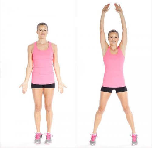Woman in pink doing jumping jacks diagram how to