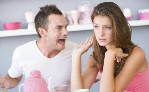A man screaming at his partner.