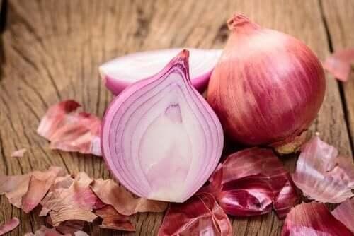 An onion cut in half.