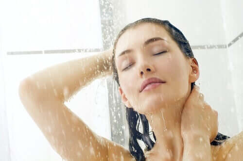 A woman taking a shower.