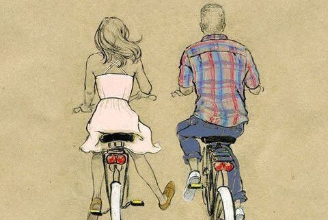 Couple on bicycles