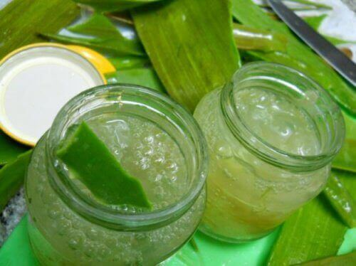 Two jars with aloe vera gel