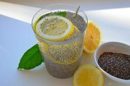 lemon and chia seed juice