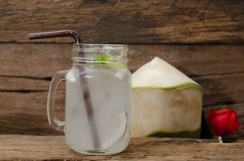 Coconut lime detox water.