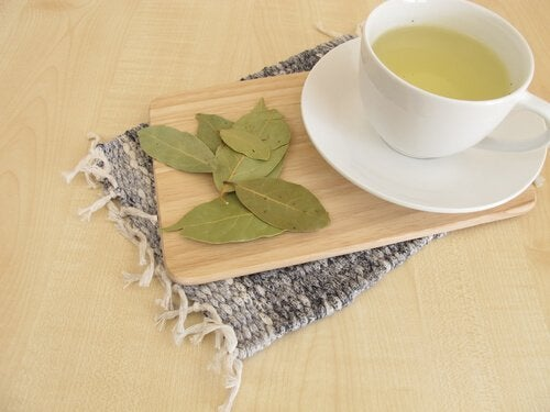 Bay leaf tea and dried leaves