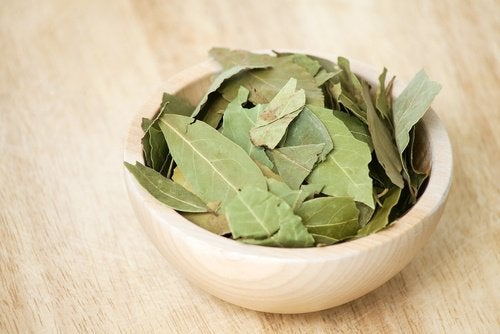 Bowl of dried bay leaves