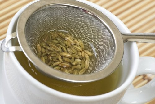 Fennel seeds in strainer inside teacup fennel tea fight digestive problems