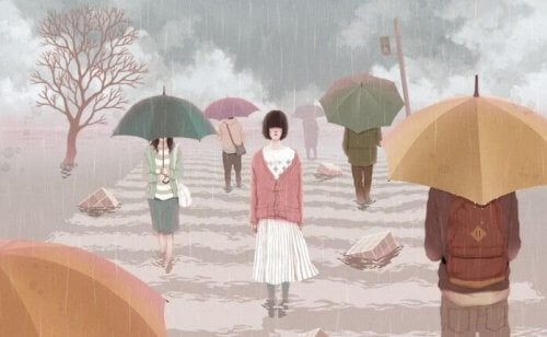 Young woman walking in the rain without umbrella self-pity