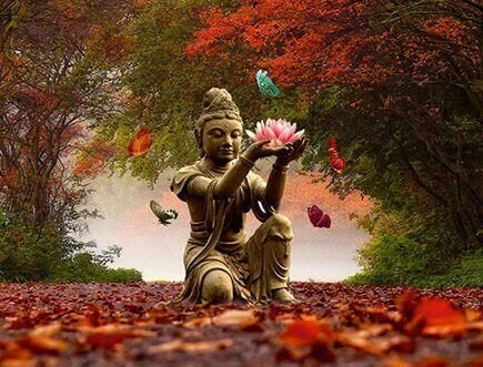 Buddha statue in the park red leaves walking meditation