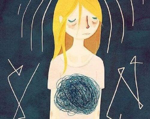 Illustration blond girl abdomen cloudy sad