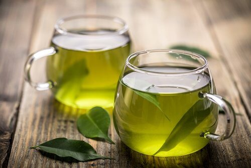 Two cups of green tea.