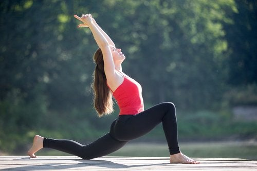 A woman doing stretching exercises.