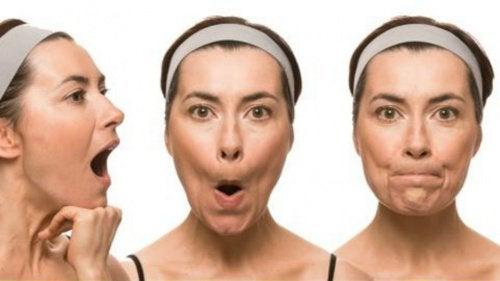 Woman doing facial exercises