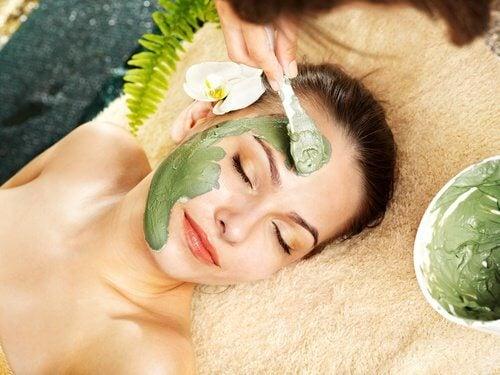 Woman using a natural mask
