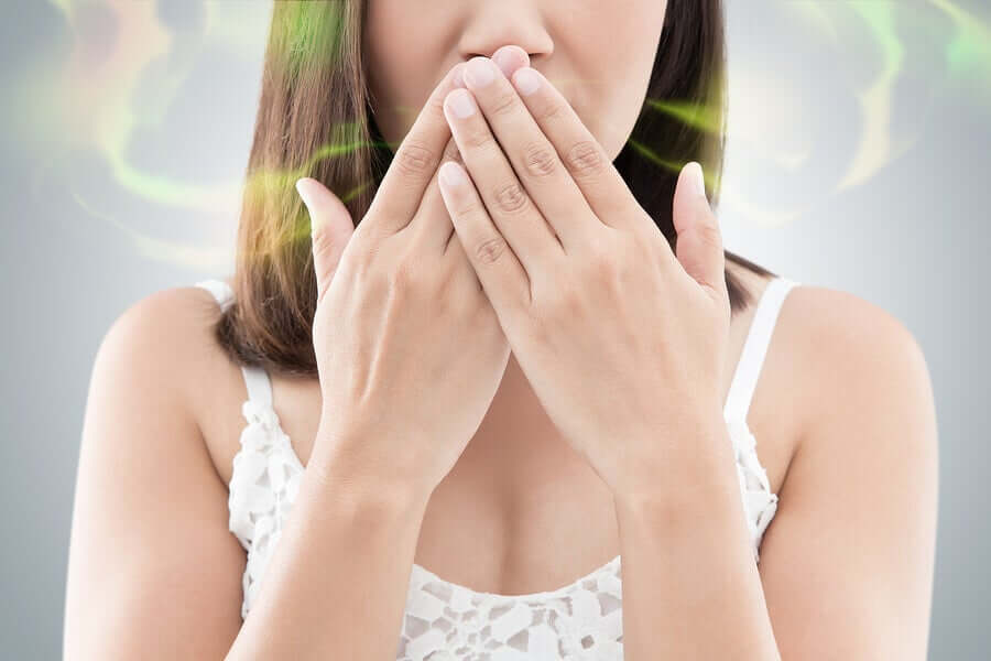 A woman with bad breath.