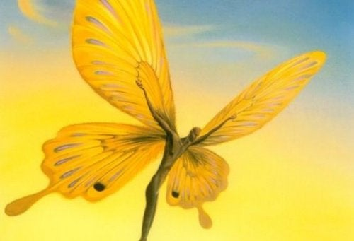 A yellow butterfly whose body is a man