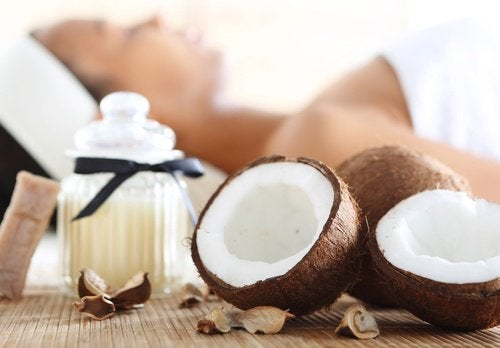 Fresh coconut in shell for kiwi smoothies