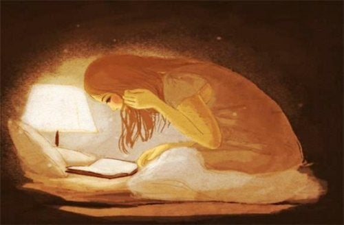 Illustration of woman reading in bed with light writing heals