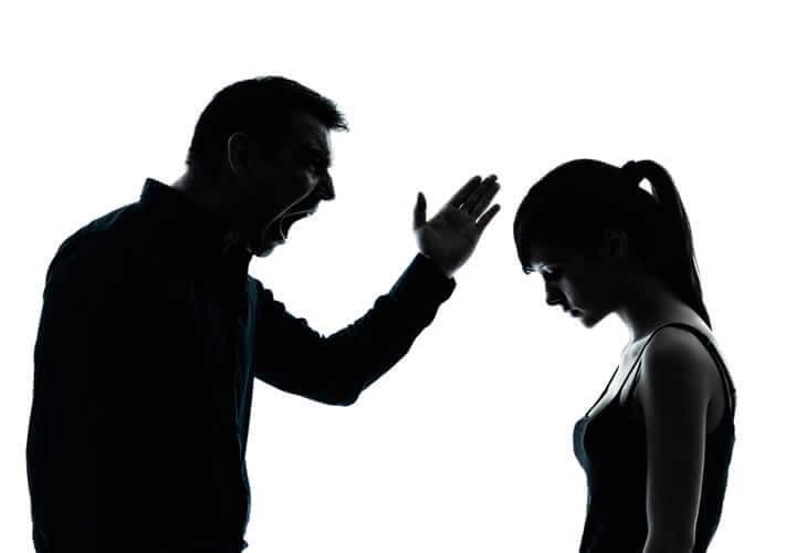 Toxic parent screaming at his daughter