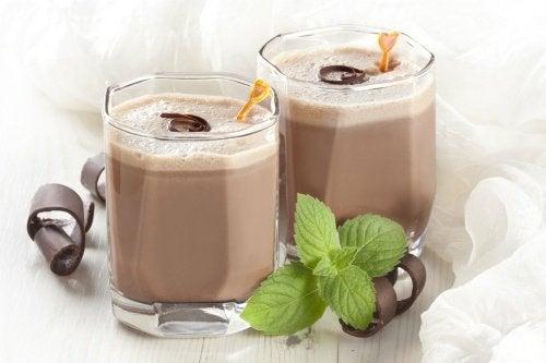 Homemade chocolate shakes