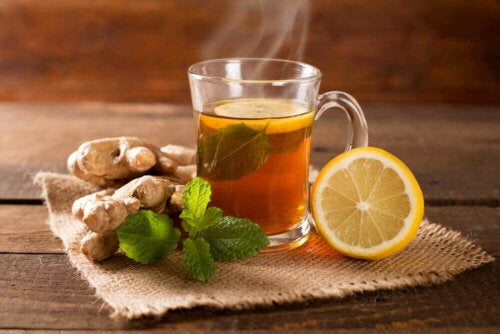 A cup of ginger lemon and mint tea.