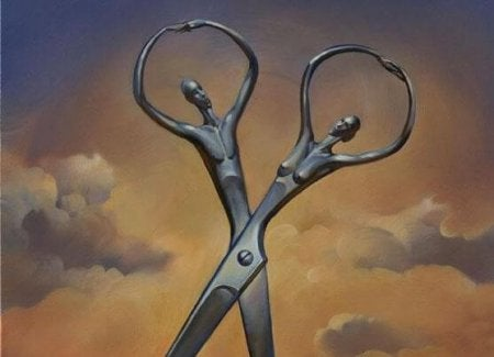 Scissors shaped like a man and a woman.