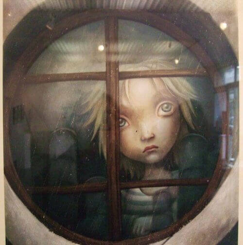 Drawing of young boy sad looking out the window