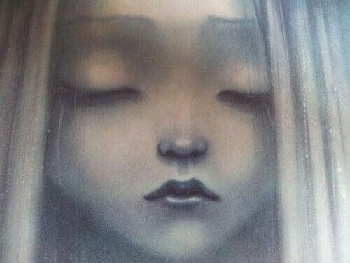 Young girl eyes closed sadness illustration child abuse