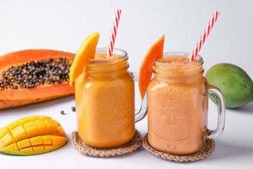 Papaya pineapple smoothie.