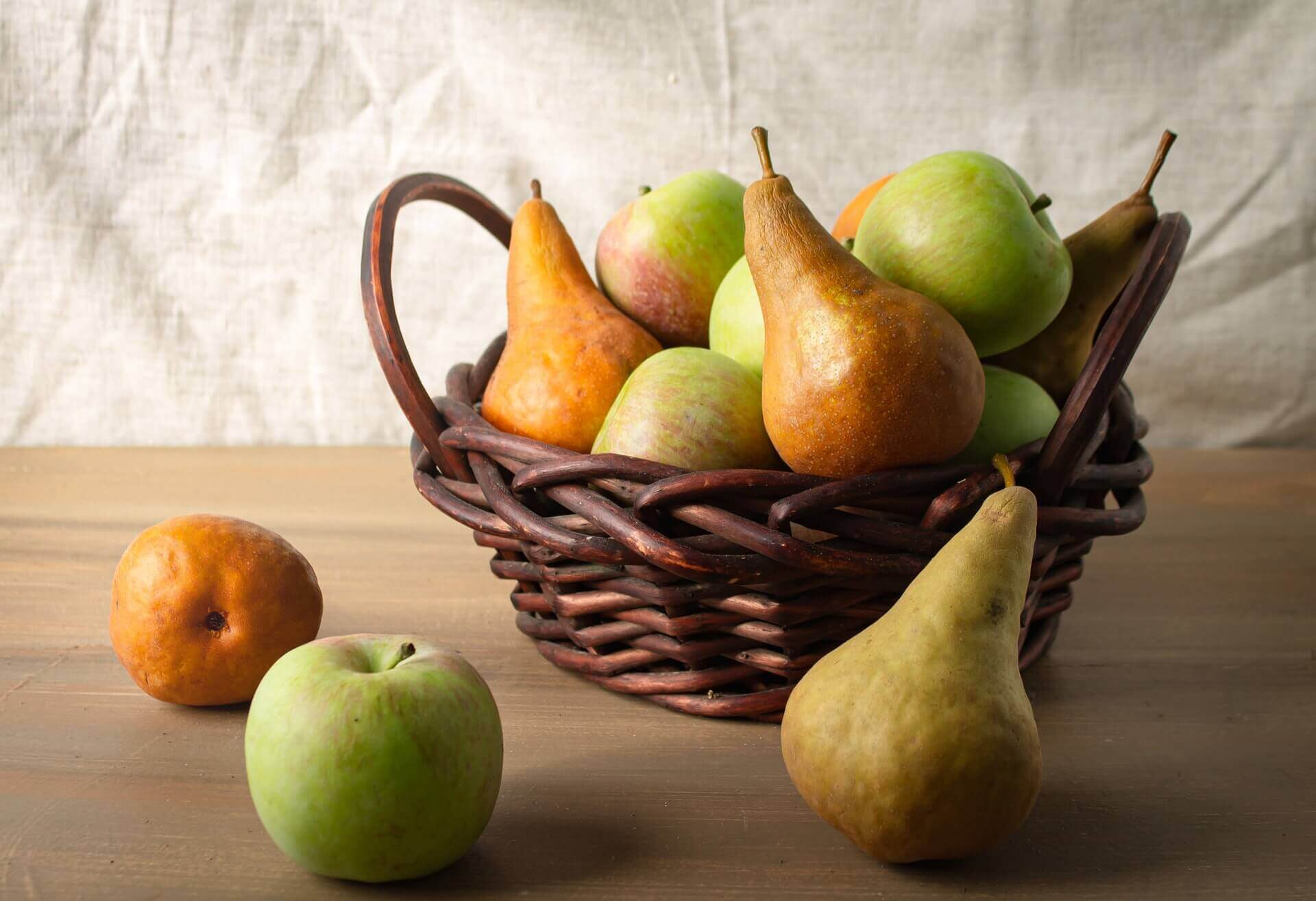 A basket of pears.