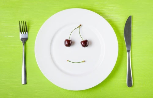 Plate and utensils with cherries making smiley face