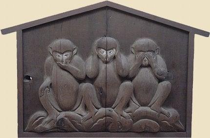 तीन बुद्धिमान बंदरों : 'बुरा मत देखो, बुरा मत सुनो, बुरा मत बोलो'