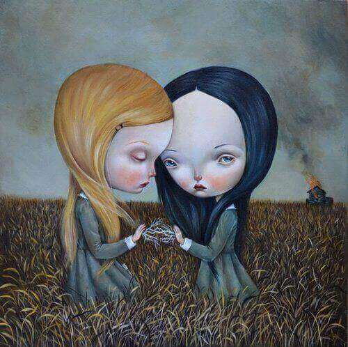 Illustration of two young girls blond and brunette holding hands looking sad in a field child abuse