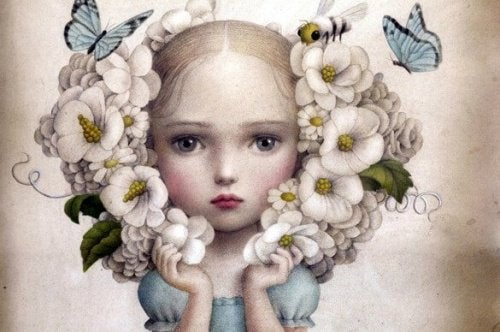Illustration of young girl looking sad holding butterflies and flowers around her head