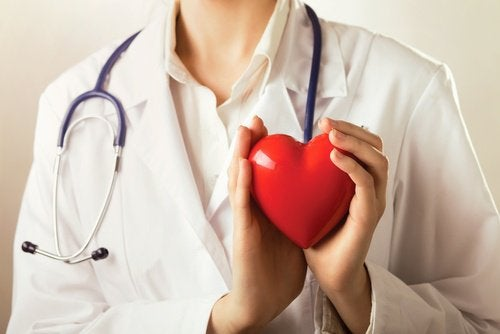 Doctor holding a heart toy benefits of eating eggplant