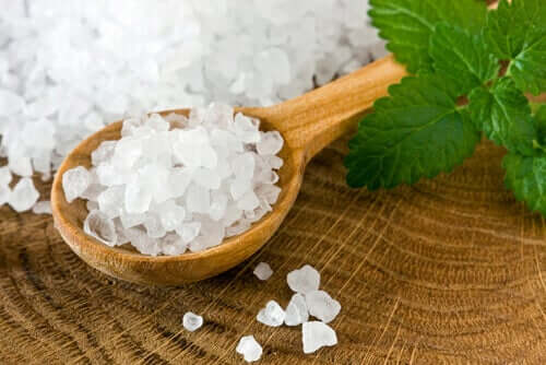 A spoonful of coarse salt.