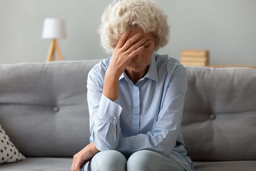An elderly woman with fatigue.