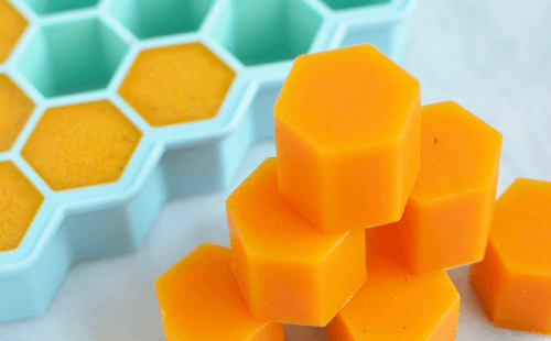 Gelatin pieces shaped like honeycomb sections.