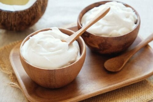 Two bowls of coconut and yogurt.
