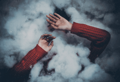 Red sweater woman lost in clouds broken ones