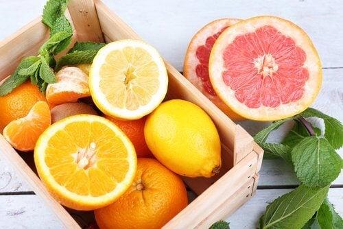 Grapefruit, lemon, and orange juice.