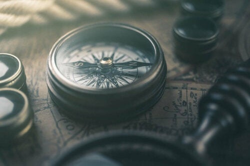 A compass on a map.