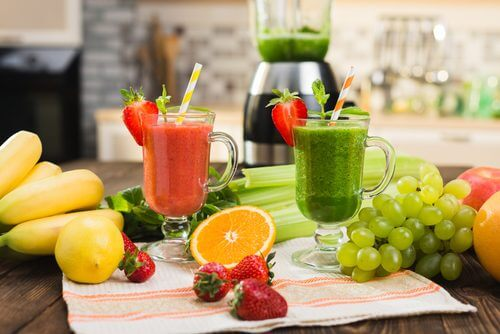 Fruits and vegetable smoothies.