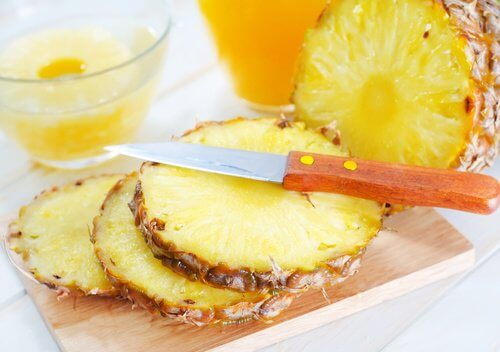 Some slices of pineapple.