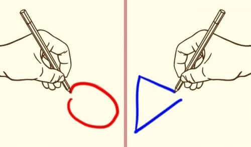 Two hands drawing different shapes.